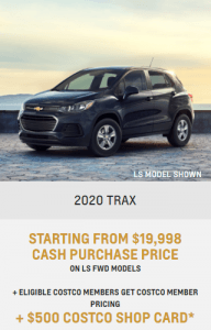 2020 Chevrolet Trax Special Incentives Offers Jack Carter Northstar GM Creston British Columbia