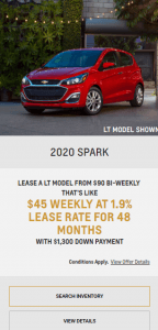 2020 Chevy Spark Chevrolet Special Offers Incentive Black Friday Jack Carter Northstar GM Creston