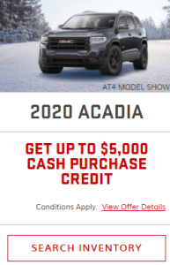 2020 GMC Acadia Special Incentives Offers Jack Carter Northstar GM Creston British Columbia