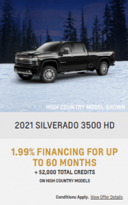 2021 Chevy Silverado 3500 HD Special Incentives Offers Jack Carter Northstar GM Creston British Columbia